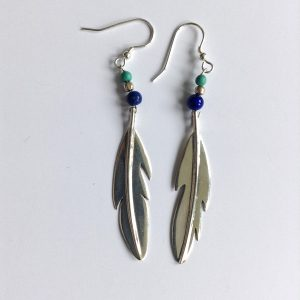 Feather earrings lapis