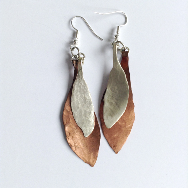 Copper silver leaf earrings