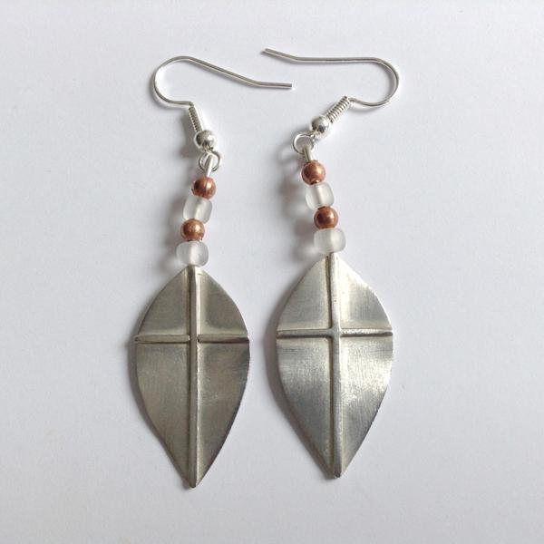 Shield w copper web earrings